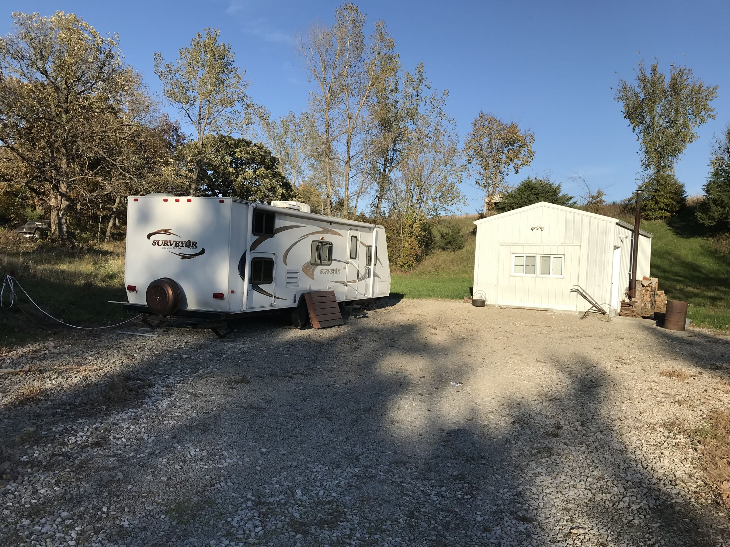 RV hook up site with cabin