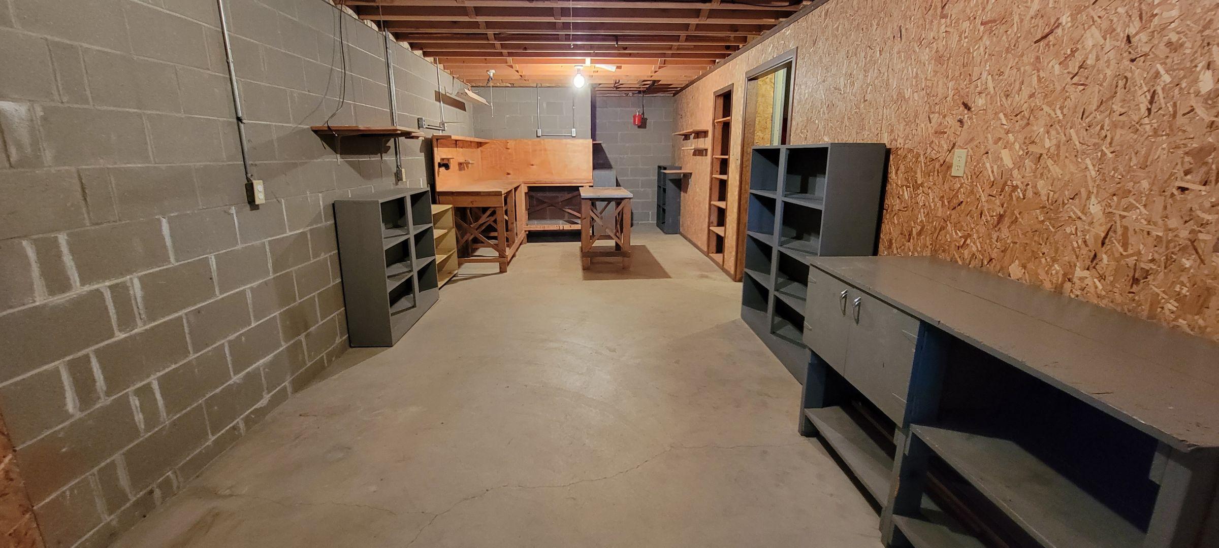 basement workshop and storage